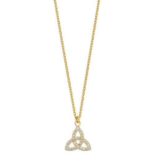 Sterling Silver Cubic Zirconia Trinity Knot Pendant Necklace