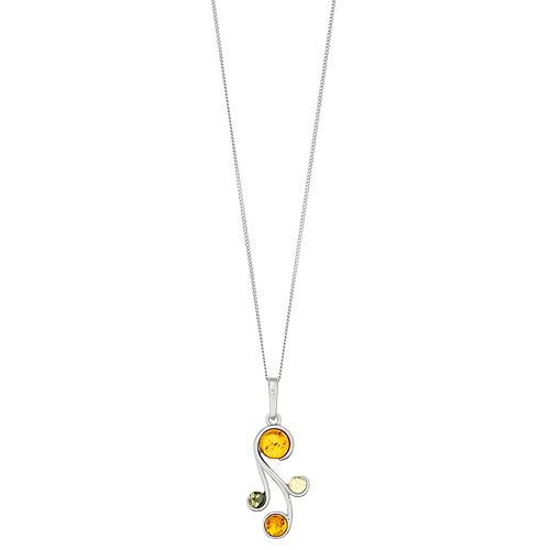 Sterling Silver Multi Colored Amber Pendant