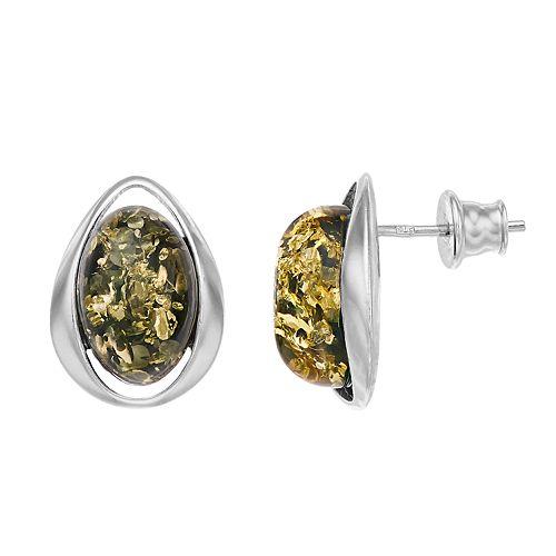 Sterling Silver Green Amber Oval Stud Earrings