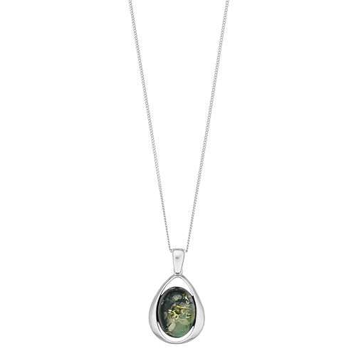Sterling Silver Green Amber Oval Pendant Necklace