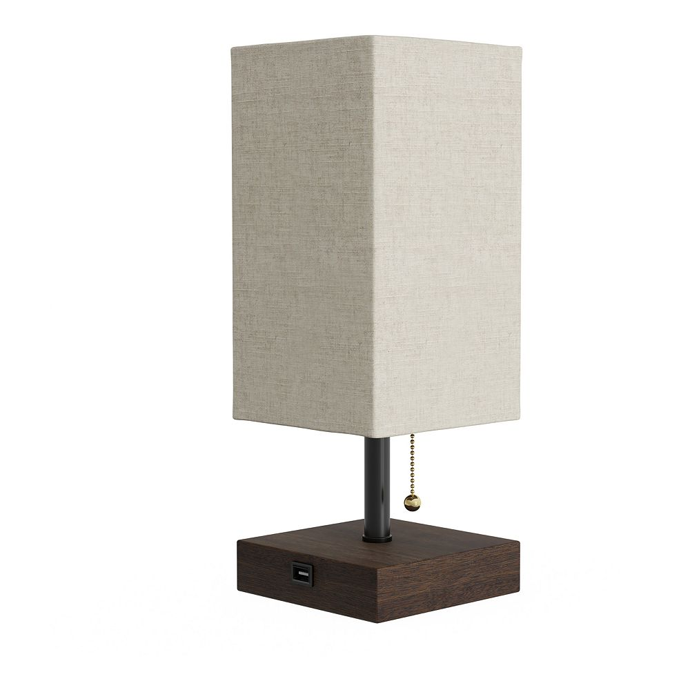 LED Rectangle Charging Station Table Lamp