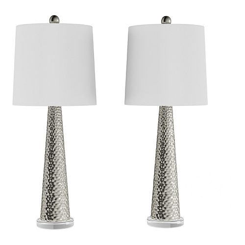 Contemporary Hammered Table Lamp 2-piece Set