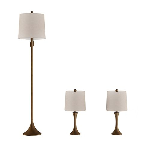 Modern Flared Trumpet Table & Floor Lamp 3-piece Set