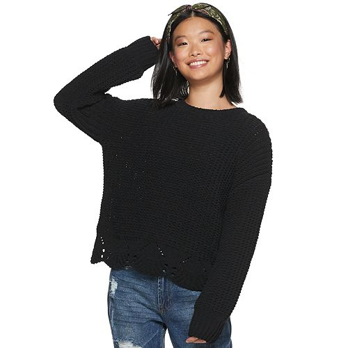 Juniors' It's Our Time Scalloped Bottom Pullover Sweater