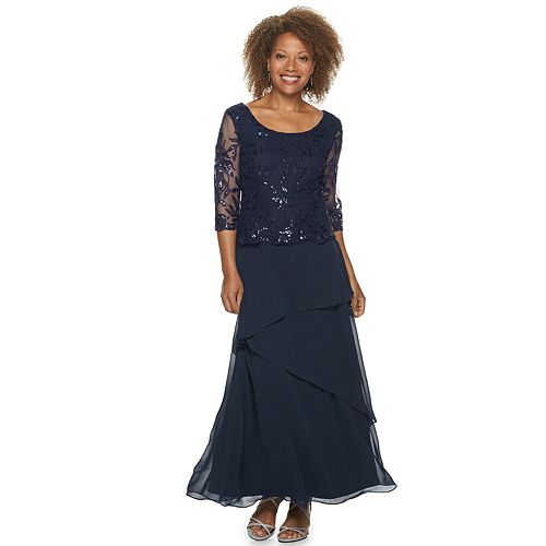Petite Maya Brooke Sequin Lace Tiered Evening Gown