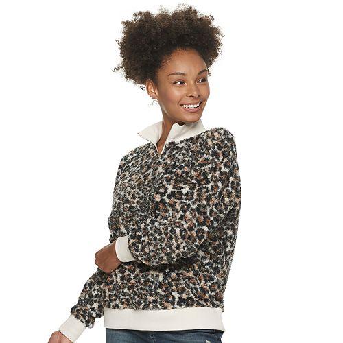 Juniors' SO® 1/4-Zip Textured Popover Sweatshirt