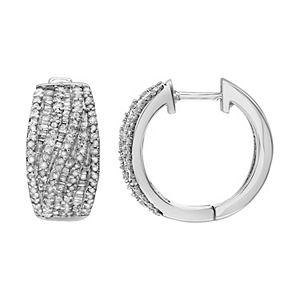 Gold Tone Sterling Silver 1 Carat T.W. Diamond Hoop Earrings
