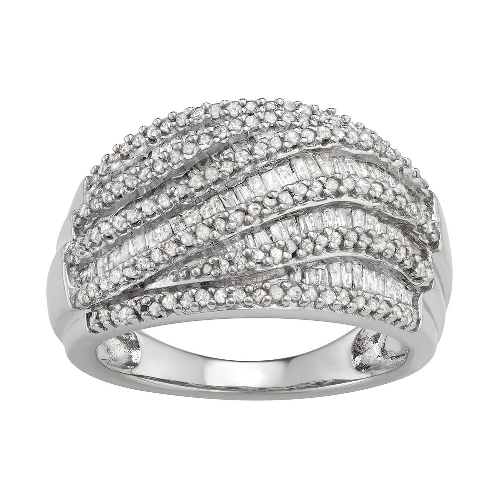 Sterling Silver 1 Carat T.W. Diamond Multi Row Ring