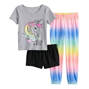 Girls 6-14 & Plus Size SO 3-Pack Sleepover Set with Two Bottoms