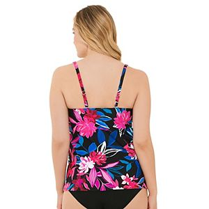 Women's Croft & Barrow® Print Draped Tankini Swim Top
