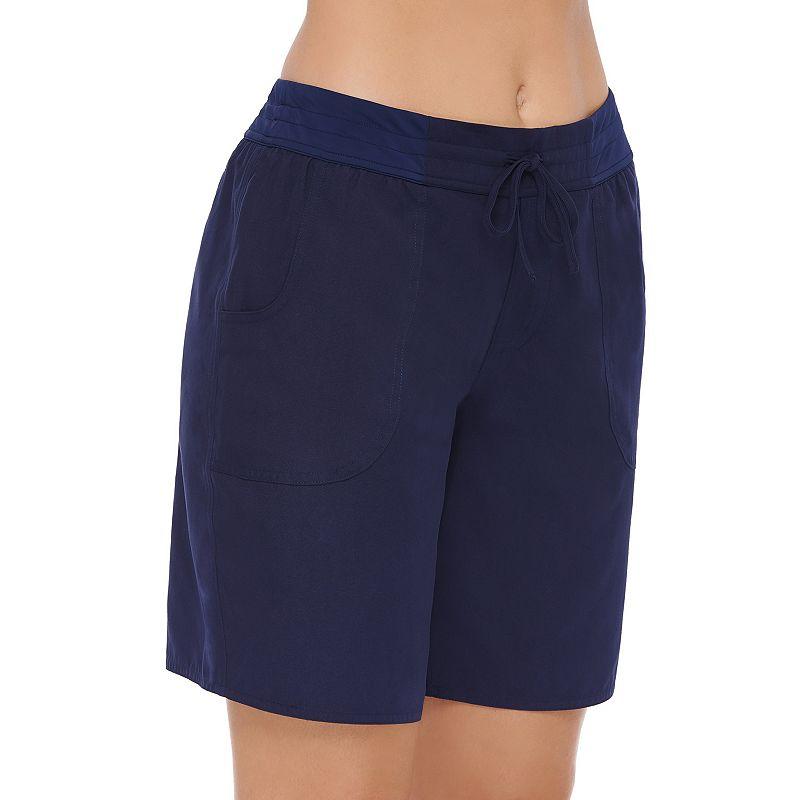 Women's Croft & Barrow Drawstring Waist Tactel Shorts, Size: XXL, Blue