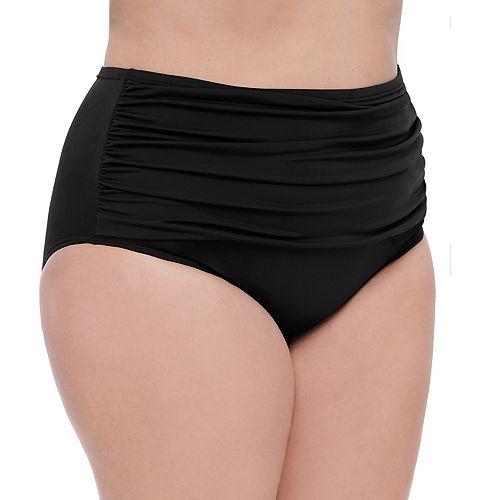 Plus Size Croft & Barrow® Tummy Slimmer Shirred High-Waist Bikini Bottoms