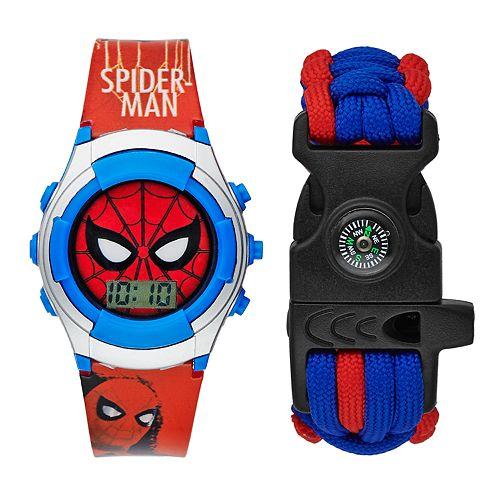 Spider-Man Kids' Digital Light-Up Watch & Compass Bracelet Set