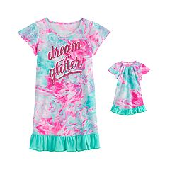 Jammies For Your Families Girls Size 5//6 Christmas Gingerbread Cookies Mint Fleece Nightgown With Doll Gown