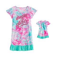 Short Sleeve Green Yellow /& Pink Leopard XS 4-5 Girls Nightgown