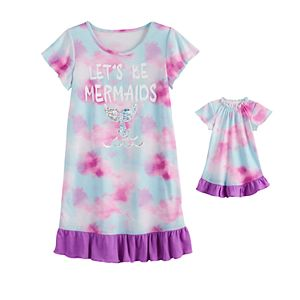 Girls 4-18 SO Ruffle Sleeve Dorm Nightgown with Matching Doll Gown
