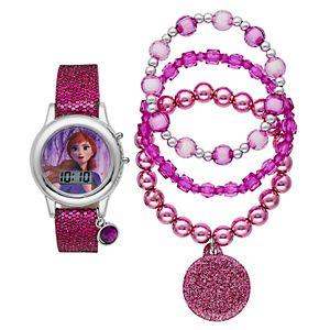 """Disney's """"Frozen 2"""" Anna Kids' Digital Light-Up Watch & Stretch Bracelet Set"""