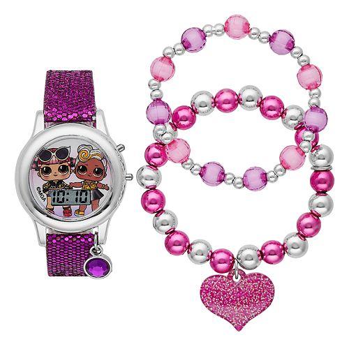 L.O.L. Surprise Kids' Digital Light-Up Watch & Stretch Bracelet Set