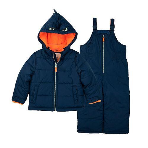 Toddler Boy Carter's Poly Fleece Lining Dino Snowsuit