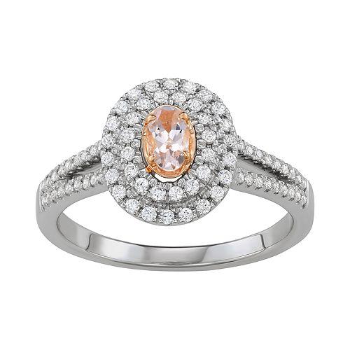 Simply Vera Vera Wang Two Tone 14k Gold Morganite & 1/3 Carat T.W. Diamond Halo Ring