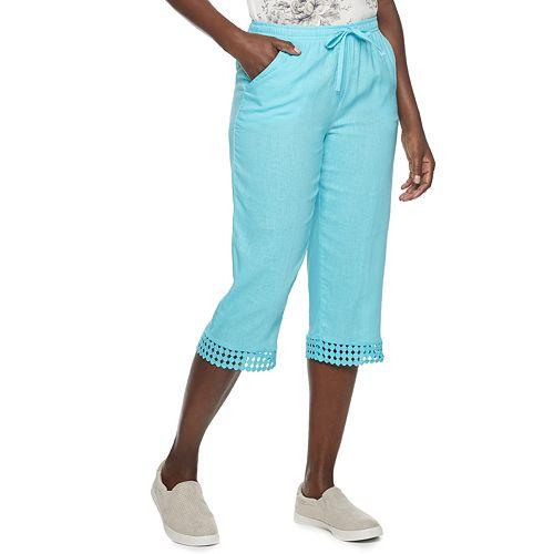 Women's Cathy Daniels Linen-Blend Crochet Trim Pull-On Capris