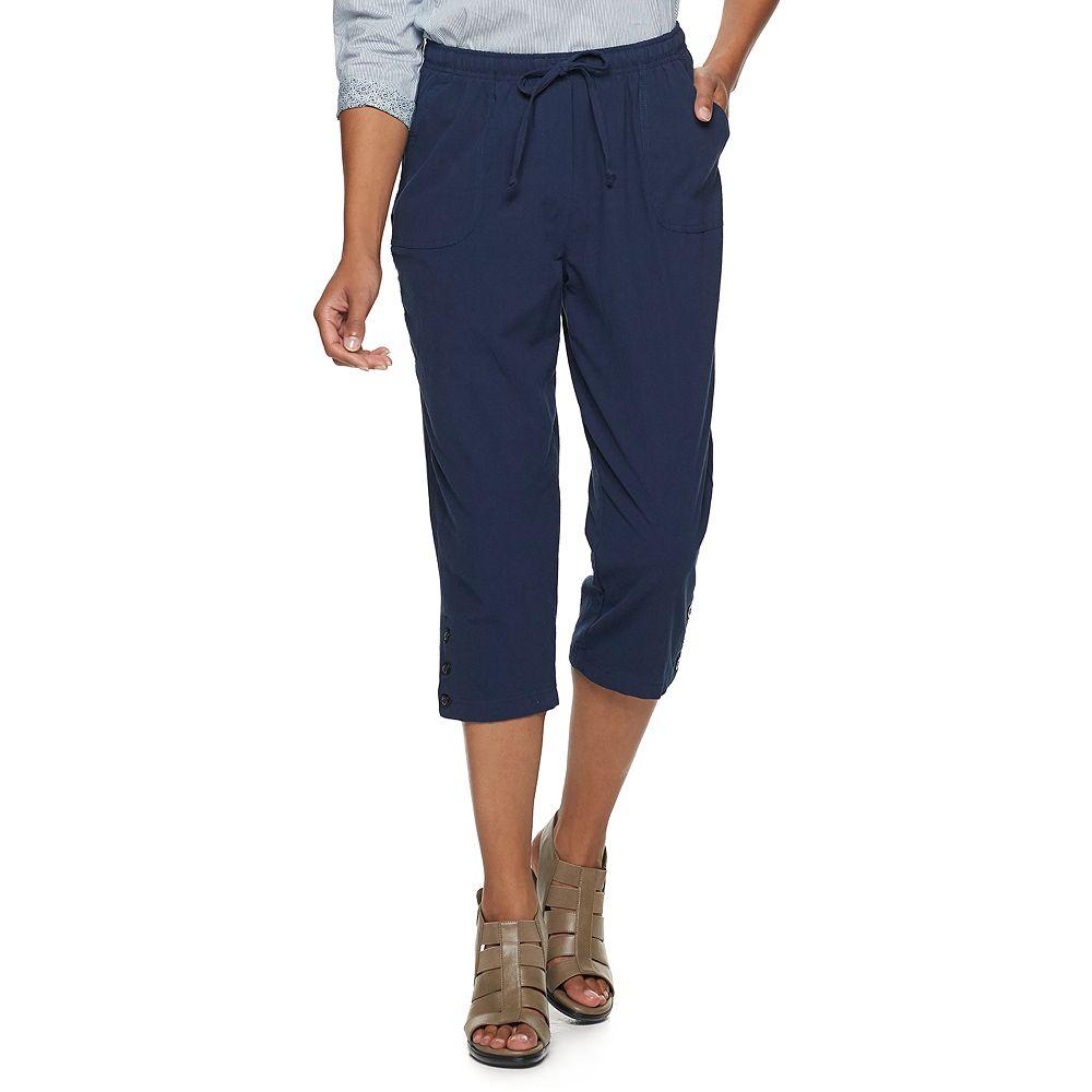 Women's Cathy Daniels Button Hem Linen-Blend Ankle Pants