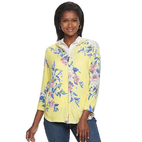 Women's Cathy Daniels Floral Zip-Front Hoodie