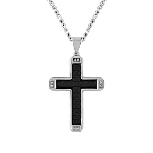 Men's Stainless Steel & Faux Leather Diamond Accent Cross Pendant Necklace