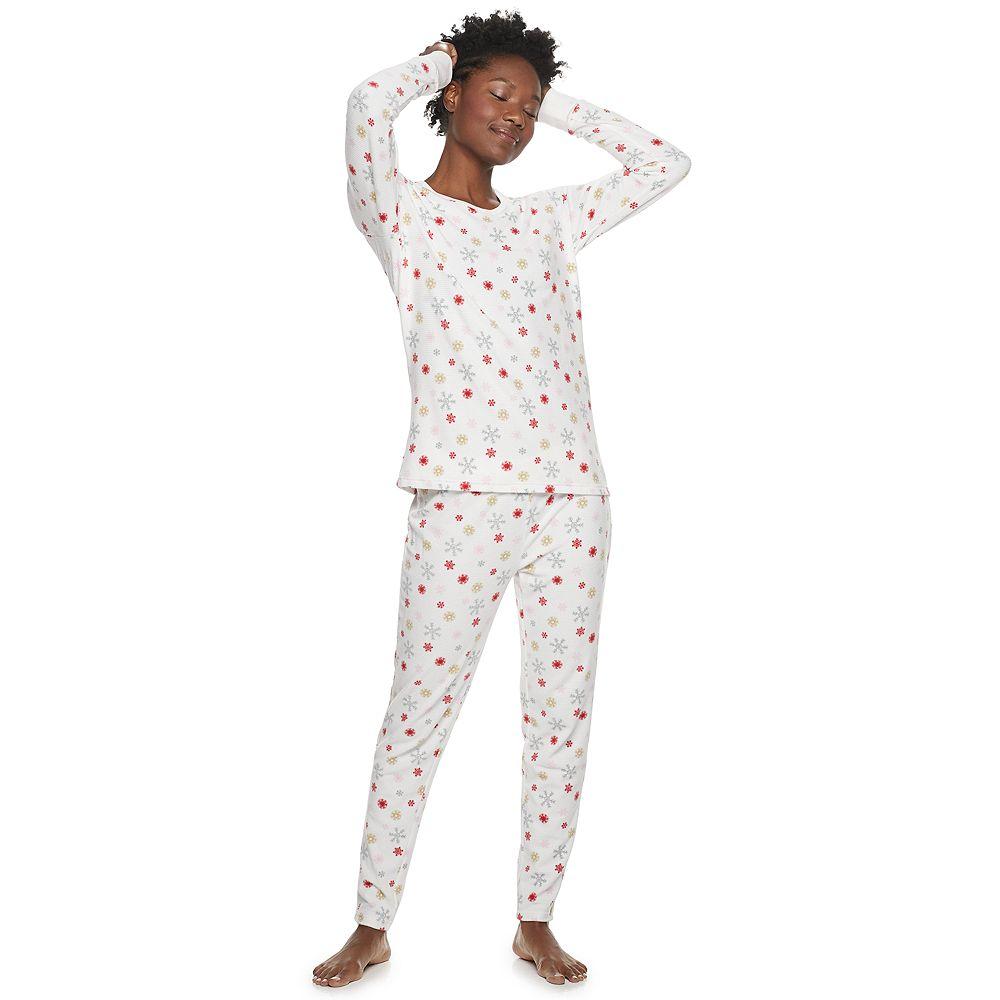Women's Hanes Cabin Life Thermal Fleece Pajama Set