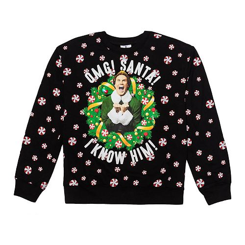 """Juniors' Elf """"Omg It's Santa!"""" Graphic Holiday Pullover by Licensed Character"""