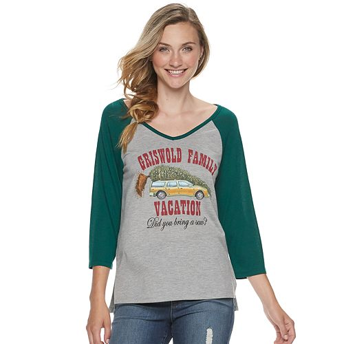 """Juniors' National Lampoon's Vacation """"Griswold Family Vacation"""" V-Neck Christmas Top"""