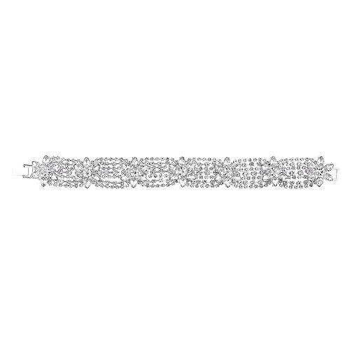 Simulated Crystal Floral Line Bracelet