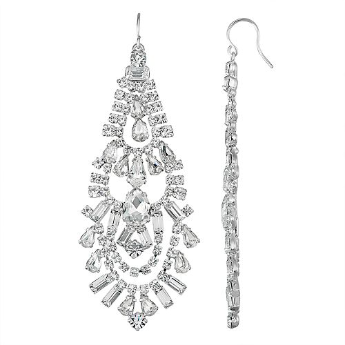 Simulated Crystal Scallop Chandelier Nickel Free Earring