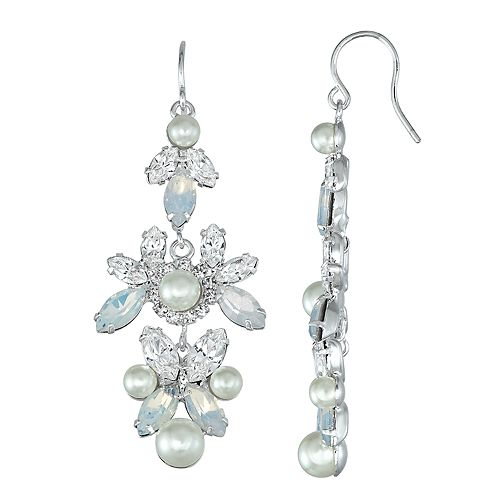 Simulated Crystal and Simulated Pearl Drop Nickel Free Earring