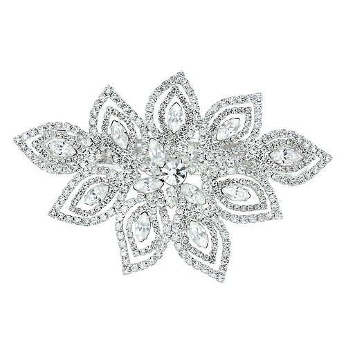 Simulated Crystal Silver Tone Floral Barrette