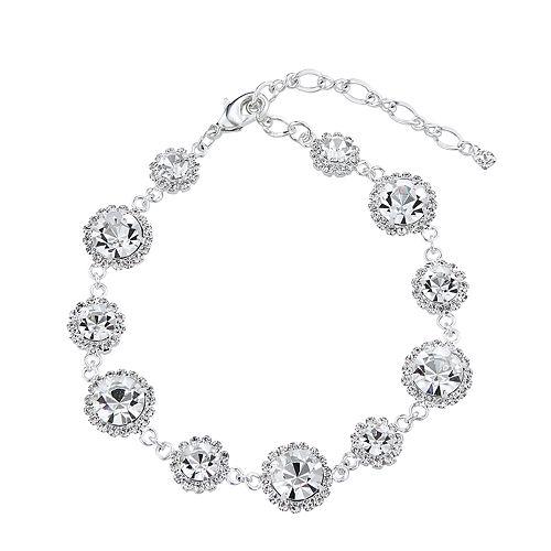 Simulated Crystal Halo Line Bracelet