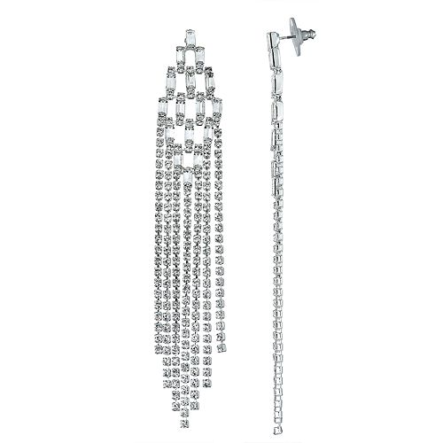 Simulated Crystal Diamond-Shaped Fringe Nickel Free Earrings