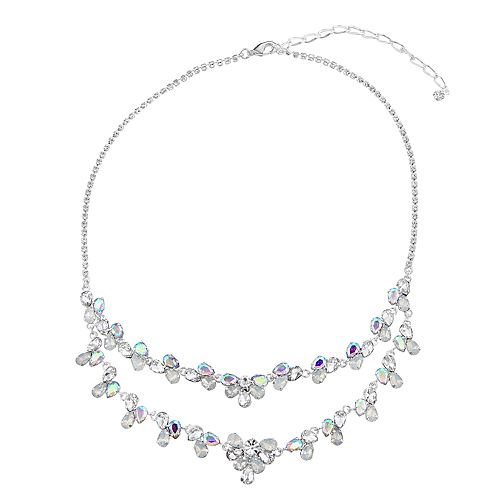 Simulated Crystal and Simulated Opal Double Row Collar Necklace