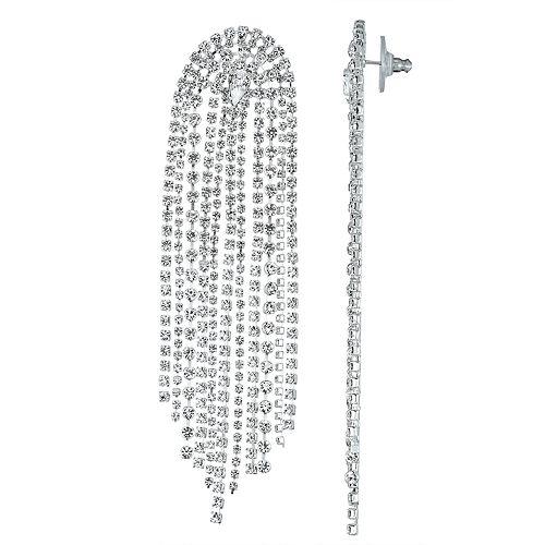 Simulated Crystal Waterfall Fringe Nickel Free Earrings