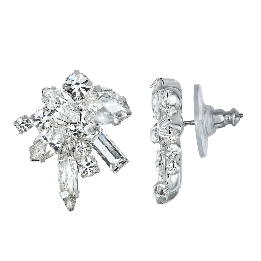 Simulated Crystal Cluster Nickel Free Button Earrings