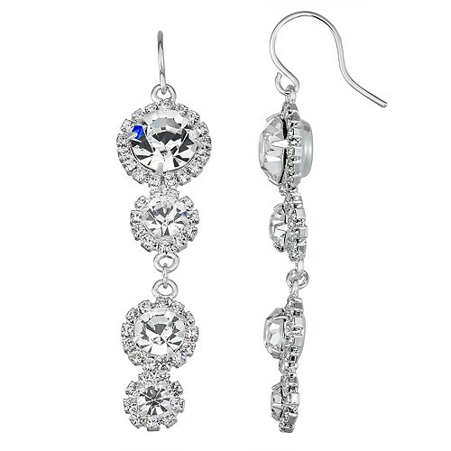 Simulated Crystal Halo Drop Linear Nickel Free Earring