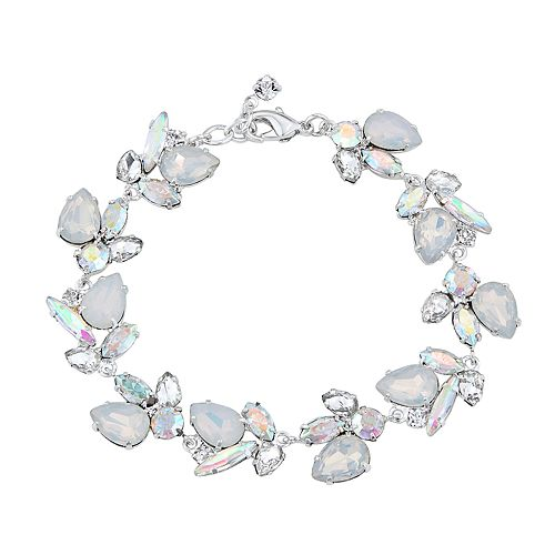 Simulated Crystal and Simulated Opal Line Bracelet