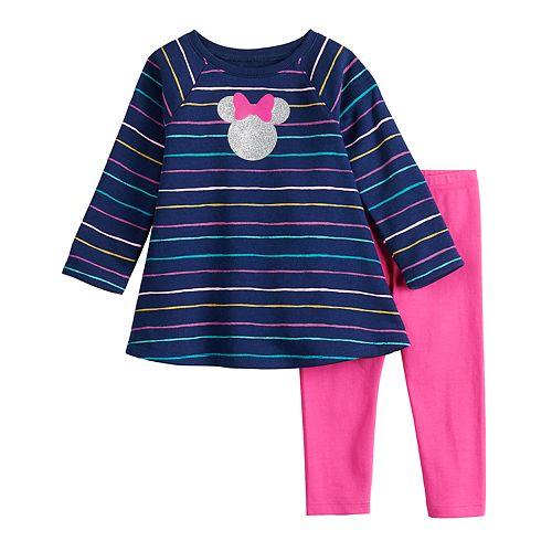 Disney's Minnie Mouse Baby Girl Striped Graphic Tee & Leggings Set by Jumping Beans®