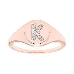 It's Personal 14k Gold Diamond Accent Signet Ring