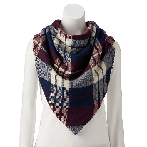 Women's Plaid Woven Triangle Scarf