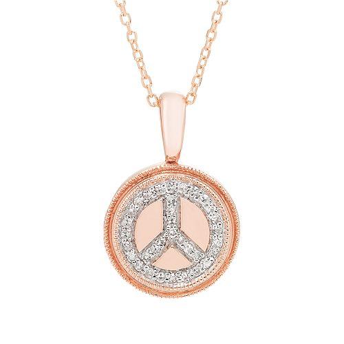 It's Personal 14k Gold 1/10 Carat T.W. Diamond Peace Pendant Necklace