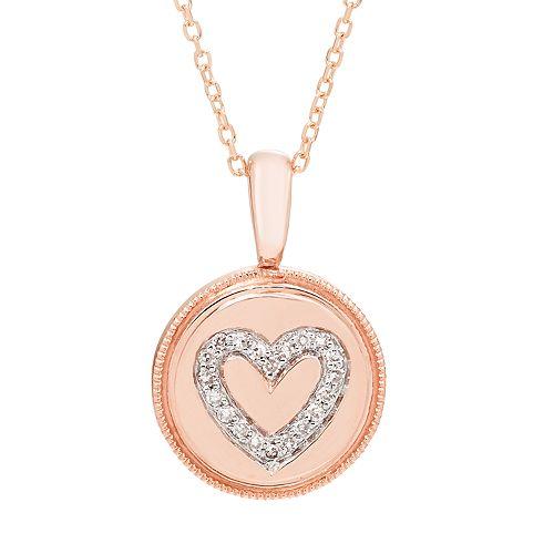 It's Personal 14k Gold Diamond Accent Heart Pendant Necklace
