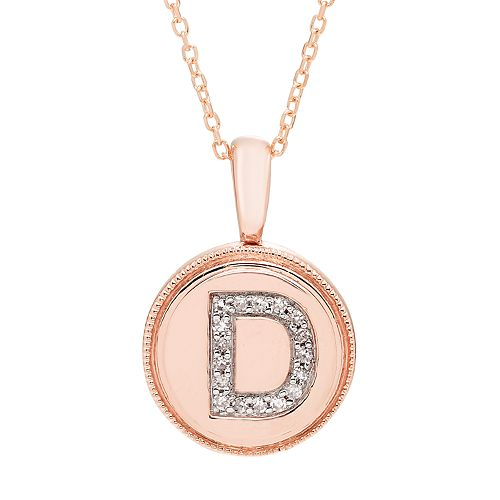 It's Personal 14k Gold Diamond Accent Signet Pendant Necklace