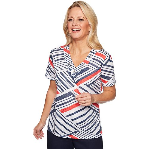 Women's Alfred Dunner Studio Embellished Striped Top