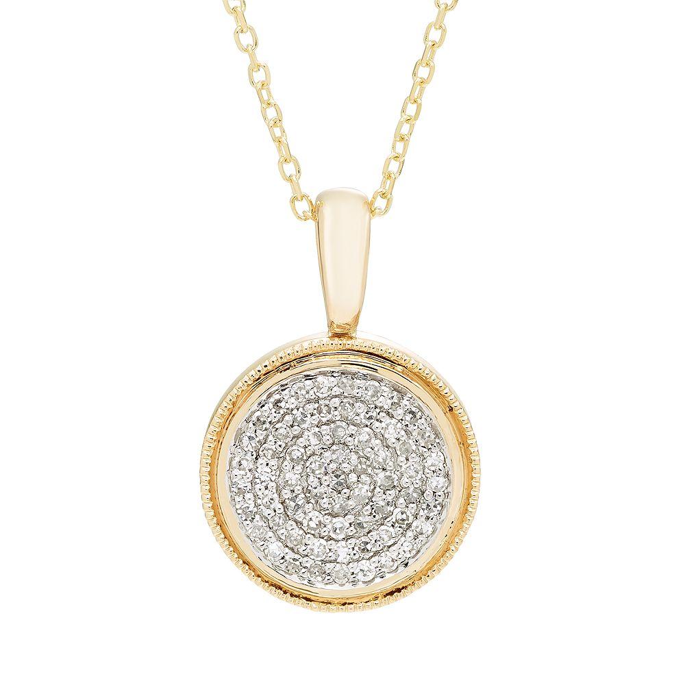 It's Personal 14k Gold 1/5 Carat T.W. Diamond Pave Circle Pendant Necklace